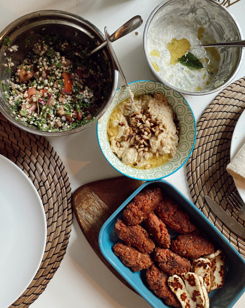 VEGAN KOFTAS WITH HUMMUS TABBOULEH AND FATTOUSH SALAD